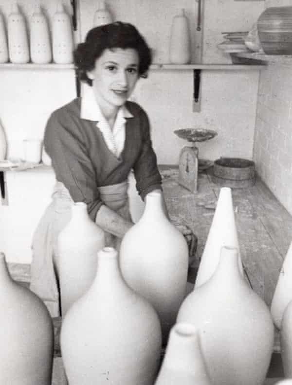 Naomi Waldman in her pottery studio in the late 50s
