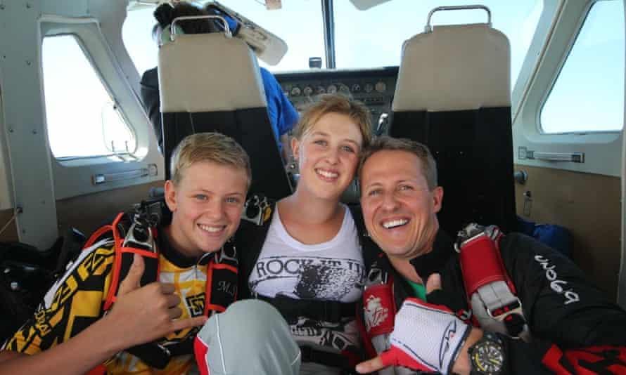 Michael Schumacher with his children in a Netflix press publicity image.