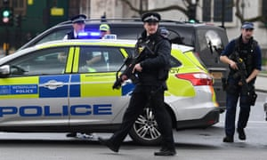 Armed police outside parliament in London on Wednesday