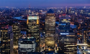Aerial views of London at night, London, Britain - 14 Apr 2013<br>Mandatory Credit: Photo by High Level/REX (2334275e) Night view of Canary Wharf towards the City of London, England, Britain Aerial views of London at night, London, Britain - 14 Apr 2013