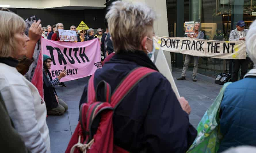A protest outside the Empire Energy offices in Sydney in May