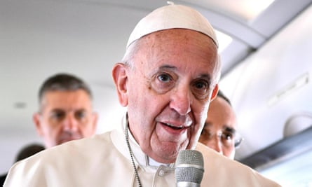 Pope Francis talks to the media on his trip to Lithuania.