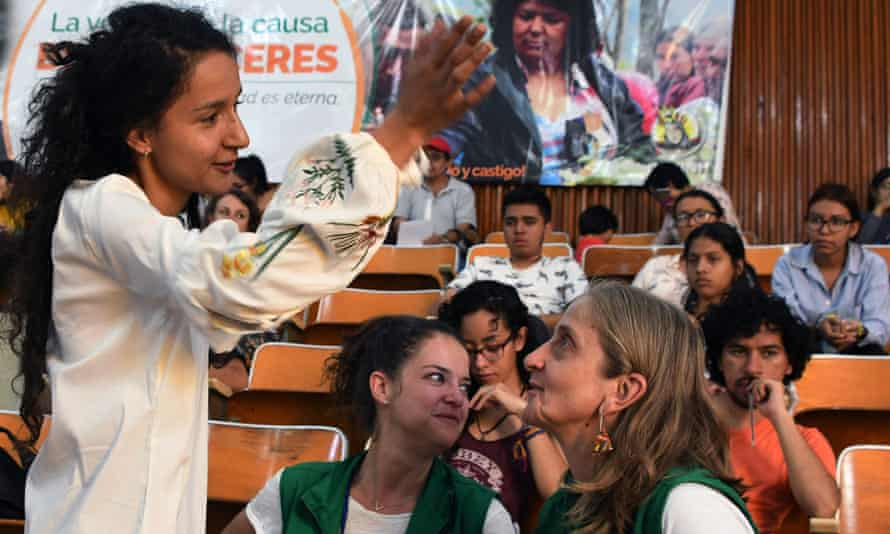 Berta Zuniga Cáceres, left, daughter of slain indigenous environmental activist Berta Cáceres, attends an event at Honduras' National Autonomous University, in Tegucigalpa, on 22 November.