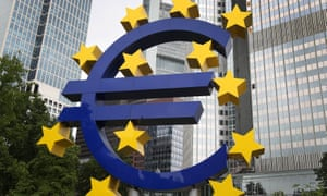 """The Euro logo is pictured in front of the former headquarter of the European Central Bank (ECB) in Frankfurt am Main, western Germany, on July 20, 2015 as Greece has begun making a 4.2 billion euro ($4.6 billion) payment due to the ECB as well as outstanding sums due to the International Monetary Fund (IMF) according to a ministerial source. The transfer was made possible by a short-term """"bridge"""" loan of 7.16 billion euros granted by the European Union on July 17, 2015. AFP PHOTO / DANIEL ROLANDDANIEL ROLAND/AFP/Getty Images"""