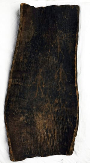One of the three bark artefacts that could be on their way to the Bendigo Regional Art Gallery next year