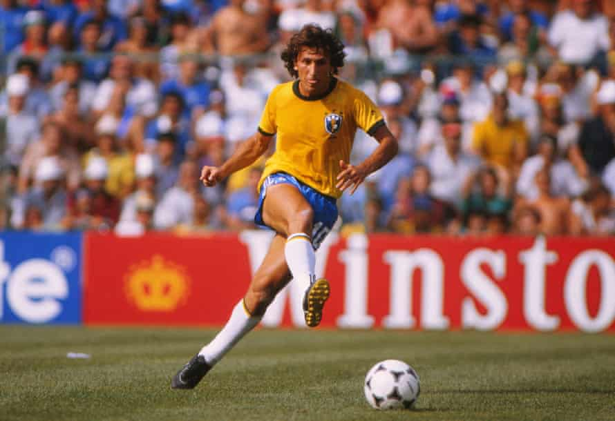 Zico in action for Brazil at the 1982 World Cup.