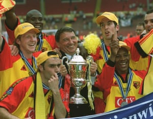 Graham Taylor with Watford players after winning the Nationwide League Division One play-off final against Bolton in 1999.