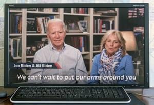 Joe Biden and his wife Jill Biden share a Zoom video call with their granddaughter, Finnegan Biden.