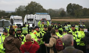 Police line the road to the Third Energy Fracking Site.