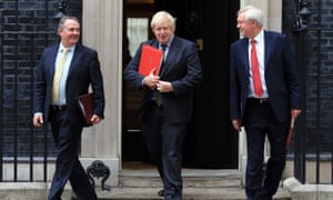 Liam Fox, foreign secretary Boris Johnson and Brexit secretary David Davis