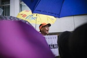 A demonstrator makes a speech.
