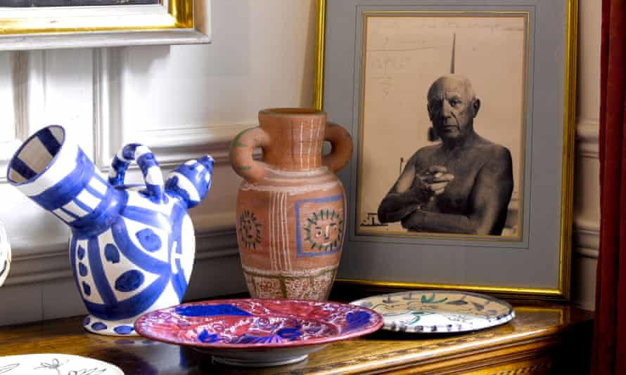 A photograph of Pablo Picasso and a selection of ceramics owned by Lord and Lady Attenborough.