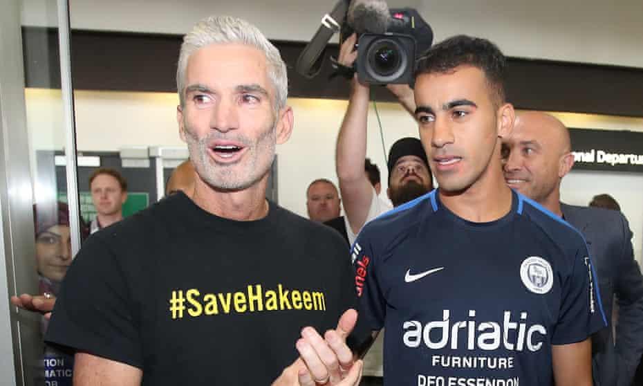 Craig Foster with Hakeem al-Araibi upon his arrival at Melbourne airport
