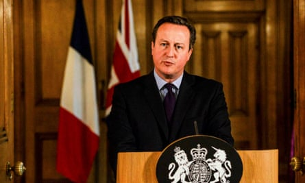 David Cameron delivering a statement after the Paris attacks.