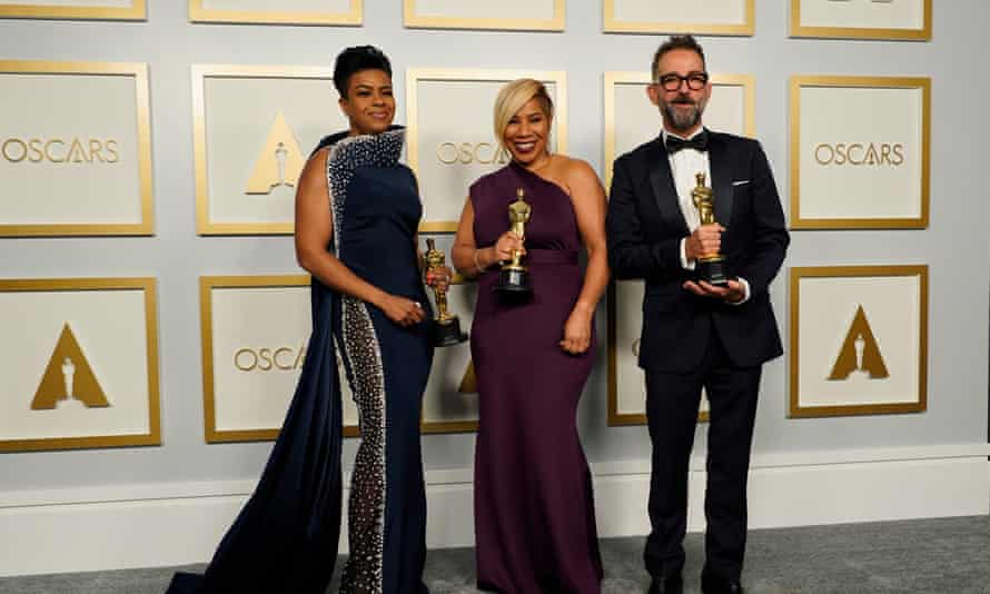 Mia Neal, Jamika Wilson and Sergio Lopez-Rivera, winners of the award for best makeup and hairstyling.