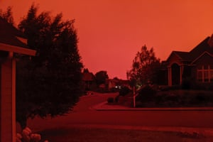 The shows the smoke-darkened sky well before sunset, at about 5pm, in Salem, Oregon on Tuesday