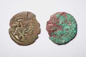 Coins from left to right; A Kilwa coin purchased online, not found in the Northern Territory. Suspected Kilwa coin, from Africa pre-1400AD, found on the Wessel Islands in the Northern Territory.