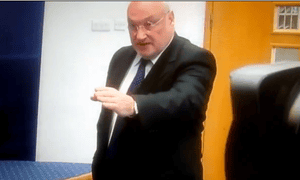 Jim Traynor interrupts the Rangers press conference.