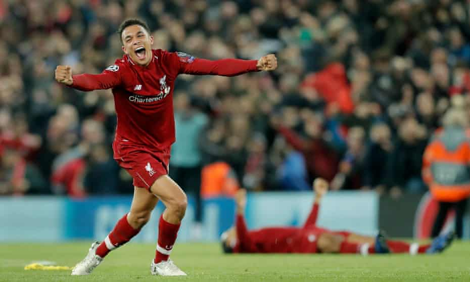 Trent Alexander-Arnold celebrates Liverpool's win over Barcelona, which was sealed by his quick corner.