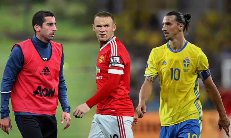 Henrikh Mkhitaryan, Wayne Rooney and Zlatan Ibrahimovic