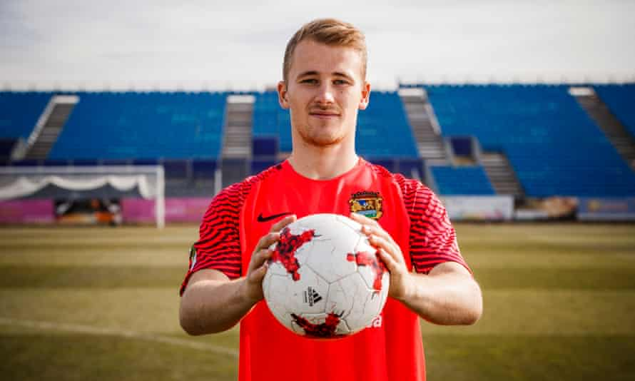 Conor O'Keefe at third-tier Fuenlabrada's stadium. 'Players think if they're cut at 17, 21, it's over,' he says. 'But there are 100-plus other countries in Fifa. Go and see if you can play somewhere else.'
