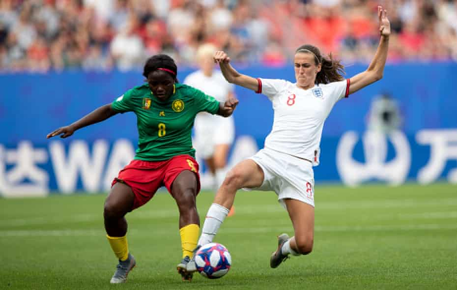 Jill Scott makes a tackle against Cameroon at the 2019 World Cup. She says she was 'never the best technically' but brings 'a lot physically'.