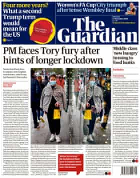 Guardian front page, Monday 2 November 2020