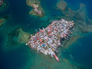 aerial view of crowded island