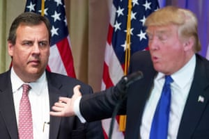 Donald Trump, accompanied by New Jersey governor Chris Christie, speaks during a news conference on Super Tuesday.