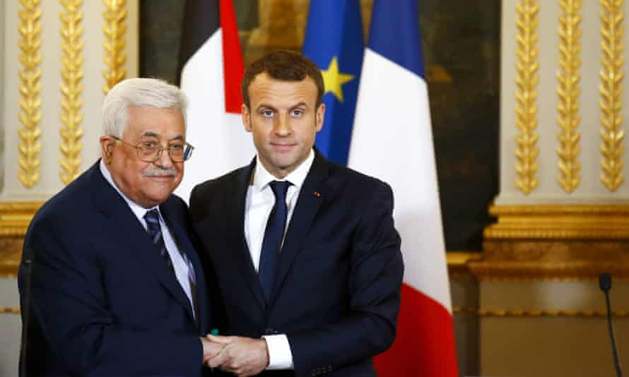 The Palestinian president, Mahmoud Abbas, meets his French counterpart, Emmanuel Macron, at the Elysee Palace in Paris, on Friday.