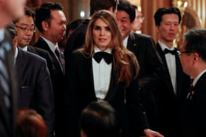 Attending an official dinner thrown by Japan's Prime Minister Shinzo Abe in honor of U.S. President Donald Trump at Akasaka Palace in Tokyo, Japan