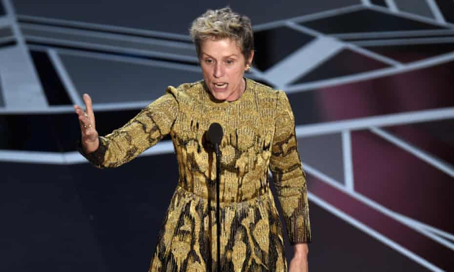 Frances McDormand talking about inclusion riders in her speech for winning best actress at the Oscars