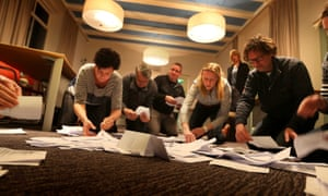 Officials count the votes of the Dutch referendum.