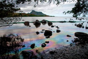 Iridescence on the water in Petit Bel Air, south-east Mauritius, after hundreds of tonnes of heavy fuel leaked from the Japanese carrier MV Wakashio, causing an environmental disaster