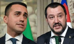 Luigi di Maio, leader of M5S, and Matteo Salvini of the League.