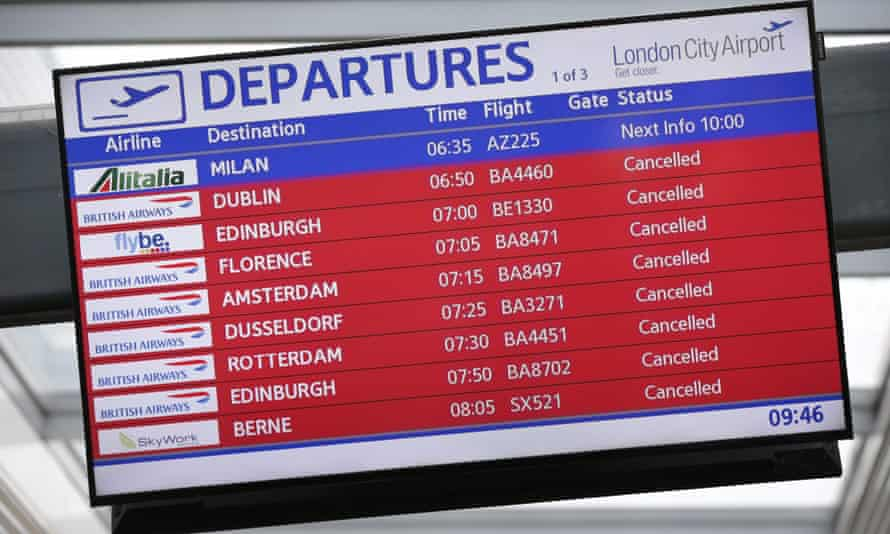 A departure screen at London City airport.