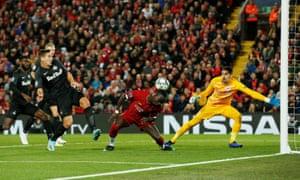 Liverpool's Sadio Mane misses a chance to score.