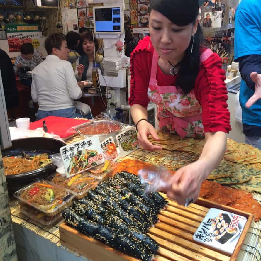 Jeon and kimbap in Osaka's Koreatown.