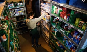 A volunteer at Wandsworth food bank, London