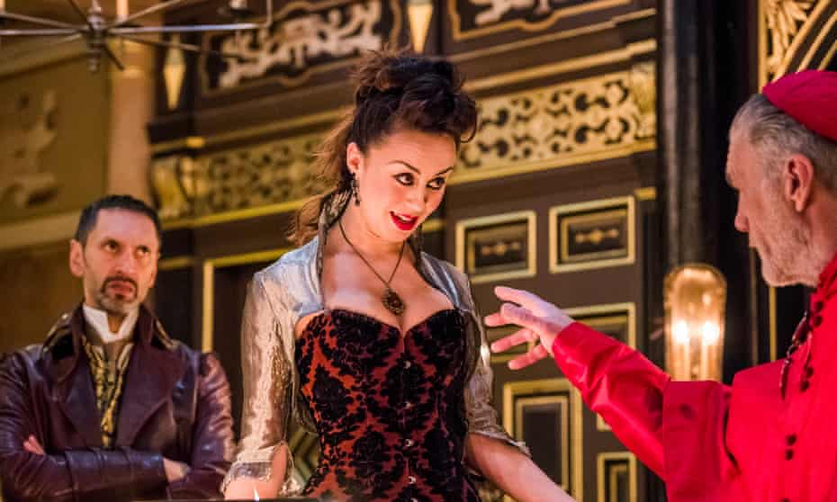 Paul Bazely as Francisco, Kate Stanley-Brennan as Vittoria and Garry Cooper as Monticelso in The White Devil.