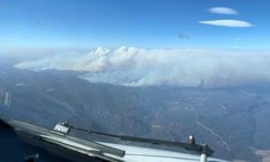 An aerial view of the Australian bushfires, 31 December 2019.