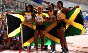 Jamaica's Natalliah Whyte, Shelly-Ann Fraser-Pryce, Shericka Jackson and Jonielle Smith celebrate gold.