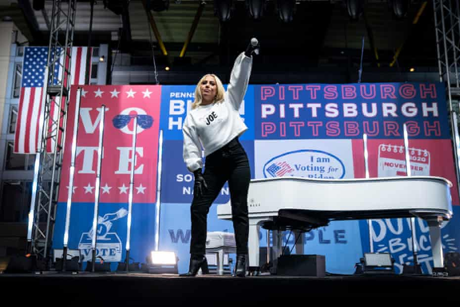 Lady Gaga performs at a drive-in campaign rally for Joe Biden in Pittsburgh, Pennsylvania.