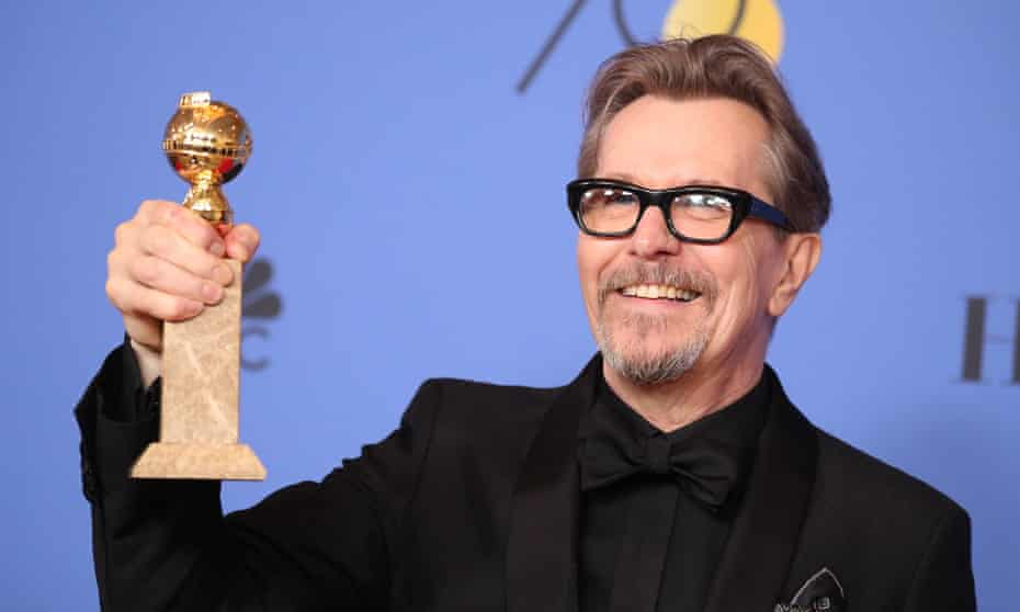 Gary Oldman with his Golden Globe award for best actor in Darkest Hour.