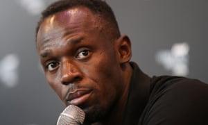 Usain Bolt at a press conference in Monaco.