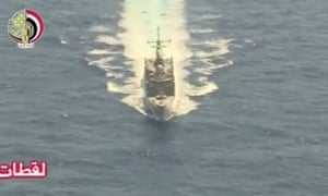 An Egyptian military search boat takes part in the search operation for EgyptAir flight MS804.