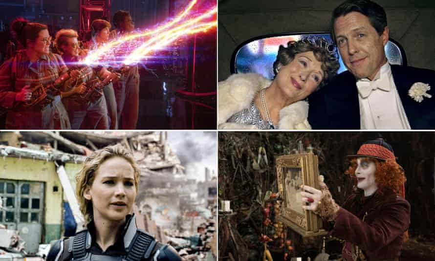 Don't cross the streams! … (clockwise from top left) Ghostbusters; Florence Foster Jenkins; X:Men: Apocalypse; Alice through the Looking Glass.