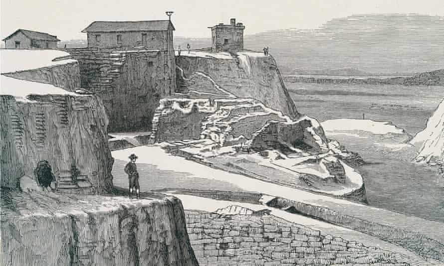 An engraving portraying the Trojan walls during Heinrich Schliemann's excavations.