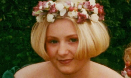 Becky Godden with blonde bobbed hair and a flower coronet