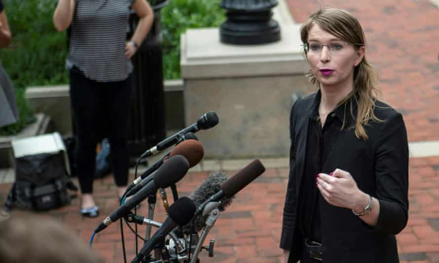Former US military intelligence analyst Chelsea Manning speaks to the press ahead of a grand jury appearance about WikiLeaks, in Alexandria, Virginia, in 2019.